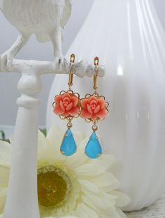 Earrings with Vintage Glass Gems and Orange by IndulgedGirl, $16.00