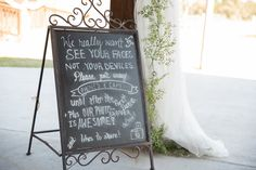 Plant City Wedding Reception Chalkboard Sign Unplugged Wedding