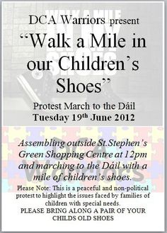 Protesting cuts to Domiciliary Care Allowance for Carers Childrens Shoes, The Outsiders, Politics, Peace, Sobriety, World
