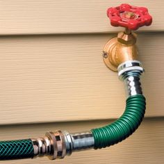 Attach this Flexible Hose End to help prevent kinks at the faucet. The Flexible Hose End provides an easy solution. Made of pliant plastic with metal fittings, the Flexible Hose End attaches between your hose and a standard spigot, bending easily to allow the hose to extend kink-free. With the Flexible Hose End, you can move around your garden or yard without having to stop to unkink the hose at your faucet.  $9.99