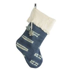 Mudcloth Christmas Stocking with Ornaments Mud by ONEAFFIRMATION
