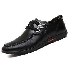 Men Metal Buckle Flat Lace Up Articial Leather Breathable Driving Casual Shoes