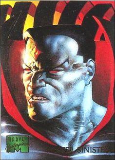 1995 Marvel Masterpieces 67 A, Jan 1995 Trading Card by Fleer Mr Sinister Marvel, Marvel Comics, Comic Book Villains, Comic Books, Nate Grey, Marvel Cards, Absorbing Man, Beast Boy, Xmen