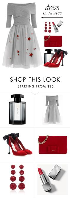 """Dress Under $100"" by conch-lady ❤ liked on Polyvore featuring L'Artisan Parfumeur, Miu Miu, Rebecca de Ravenel, Burberry and under100"