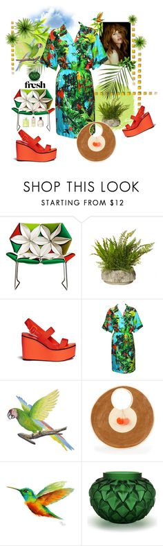 """""""Fresh Tropical Joy"""" by ohnoflo ❤ liked on Polyvore featuring MOROSO, Jimmy Choo, Louis Féraud, NOVICA, Sophie Anderson, WALL, Lalique, vintage, tropical and jimmychoo"""