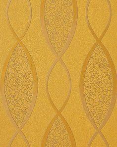 Design behangpapier vinyl abstract strepen EDEM 1018-11 motief golven patroon retro behang jaren 70 interieur goud geel 001