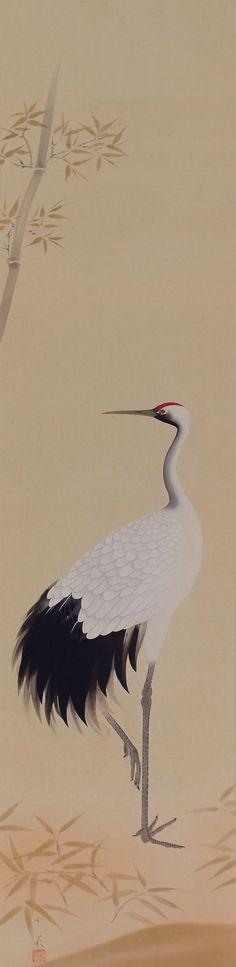 Crane by Inshō Dōmoto (1891-1975).  Kakejiku