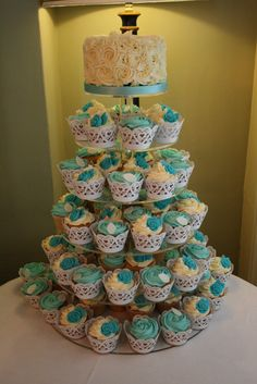 Cupcake Tower in Tiffany Blue and Ivory with Rose Swirl top tier cake
