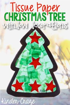 Tissue Paper Christmas Tree Window Decorations #christmascraft