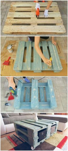 Vintage Style Coffee Table From Pallet - VIDEO - Would you like to get a vintage look in your room? But you can't find the perfect table to fit yo - Painted Coffee Tables, Decorating Coffee Tables, Wooden Pallet Furniture, Wooden Pallets, Furniture From Pallets, Diy With Pallets, Distressed Furniture, Furniture Makeover, Home Furniture