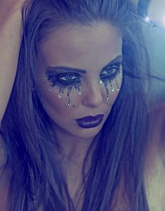 Crystal Tears make up idea - perhaps for a mermaid or fallen angel fancy dress outfit...x