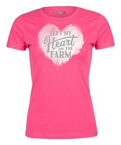 Hot Pink 'Left My Heart on the Farm' Fitted Tee - Women