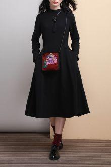 Vintage Style Twin Pocket Midi Dress