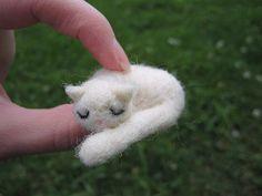 Needle Felted Sleeping White Cat Miniature by LittleElfsToyshop, $17.00