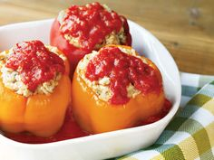 Dinner Bells, Italian Turkey and Rice Stuffed Peppers - Just 15 minutes to prepare and then straight to the slow cooker!
