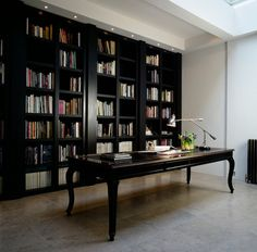 Full height shelving in charcoal
