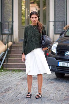 This is stunning, I love the jumper and the green goes perfectly with the skirt. Sandals look great too. Could be paired with other shoes.