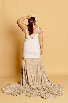 Paloma – Halseene A unique curvy wedding gown with a spaghetti strap sweetheart neckline, corset back, and rose gold sequin-blocked skirt with train.  #HalseenePaloma #plussizeweddingdresses #plussize #effyourbeautystandards #weddingdress