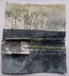 Marshscape Collage #1, Cotton duck, linen, wax, metal, found thread by Debbie Lyddon