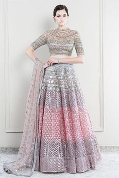 Explore from latest collection of lehengas online. Shop for lehenga choli, wedding lehengas, chaniya choli, ghagra choli & designer lehengas in variety of colors. Indian Bridal Outfits, Indian Designer Outfits, Designer Dresses, Indian Outfits Modern, Engagement Dresses, Oval Engagement, Engagement Photos, Bridal Lehenga Collection, Indian Lehenga
