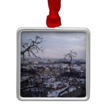 Snowy Trees in Prague Christmas Ornament Prague Christmas, Snowy Trees, Christmas Ornaments, Create, How To Make, Gifts, Design, Presents, Christmas Jewelry