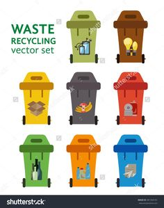Set of waste sorting bins. Garbage sorting flat concept. Vector illustration of waste sorting management.  Colored garbage cans with waste categories.