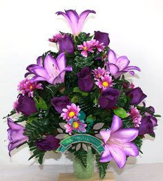 XL Dark Purple Lilies and  Roses  3 inch Cemetery Vase  Arrangement by Crazyboutdeco on Etsy