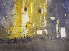 """Bandelier Cliff Dwellings  by Monique Janssen-Belitz - Monotype, collage, ink drawing, 22"""" by 30"""", 2008"""