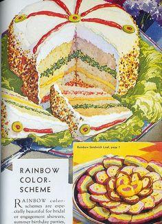 Color Vintage Photo: Olive rainbow cake.