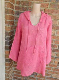 FLAX 100% Linen Hoodie Blouse Size S Women Tunic Hooded Shirt Top Pouch Pink