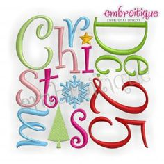 Embroidery Designs (All) - December 25 Christmas Word Block Whimsical on sale now at Embroitique!