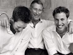 Prince Charles with his two sons Prince Harry and Prince William