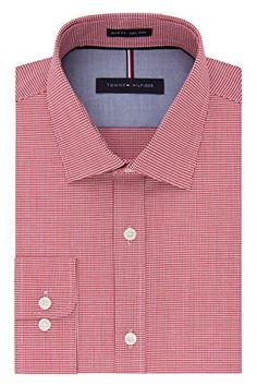 Tommy Hilfiger Mens Non Iron Slim Fit Mini Check Spread Collar Dress Shirt  #shirts #dress #mensshirt #clothing #fashion #formalshirt