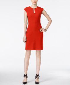 Bar III Split-Neck Sheath Dress, Only at Macy's - Dresses - Women - Macy's