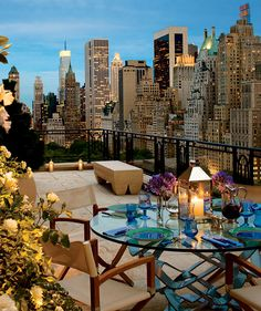 Citigroup CEO Sandy Weill's New York #penthouse, 15 Central Park West. At a full city block in length, the penthouse has multiple terraces, including one devoted to outdoor dining. Asking price of $88,000,000; proceeds go to charity. (Architecture by Robert A. M. Stern Architects, Interior Design by MAC II, Photography by Durston Saylor.) #NewYork Rooftop Terrace, Dream, The View, City Views, New York City, Place, Big City, Central Park, Rooftop Deck
