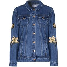 Glamorous Embroidered Denim Jacket ($59) ❤ liked on Polyvore featuring outerwear, jackets, blue, women, blue denim jacket, embroidered denim jackets, cotton jean jacket, jean jacket and embroidery jackets
