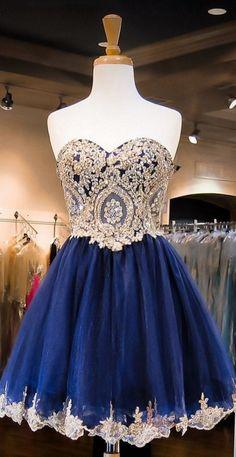 Cute Blue Homecoming Dresses, Short