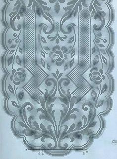 Kira crochet: Crocheted motif no. Crochet Table Runner Pattern, Crochet Doily Patterns, Crochet Motif, Crochet Designs, Crochet Doilies, Crochet Stitches, Free Crochet, Oval Tablecloth, Crochet Tablecloth