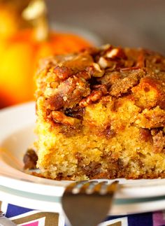 Pumpkin Coffee Cake-this was good but DO NOT put it in a 9x9. It overflowed and didn't cook all the way. Use 7x11 pan.