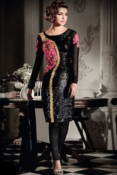Buy Priyanka Chopra Black Georgette Churidar Suit at kollybollyethnics online from India with free worldwide shipping offer