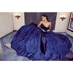 Rihanna in Zac Posen Resort 2015 Midnight Blue Duchesse and Taffeta Strapless Ball Gown and Chopard jewelry – First Annual 2014 Diamond Ball for the Clara Lionel Foundation #TheClaraLionelFoundation @zacposen