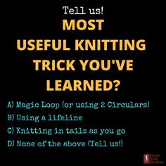 OK, knitters!  This question is for YOU.