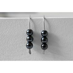 Hematite Threader Earrings, Sterling Silver Hematite Earrings, Real... (€16) via Polyvore featuring jewelry, earrings, sterling silver gemstone earrings, hematite jewelry, gemstone earrings, gem earrings and fine jewelry