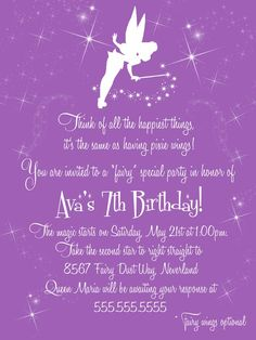 Fairy Birthday Party Personalised Invitation Download Pdf Girly