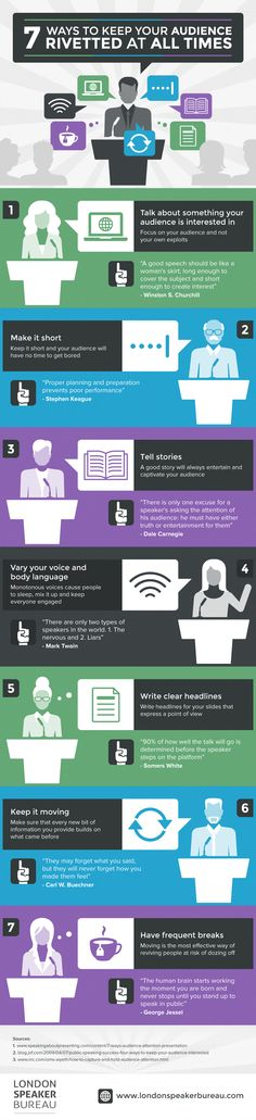 Food infographic 7 Ways to Keep Your Audience Riveted at All Times Infographic Description 7 Ways to Keep Your Audience Riveted at All Times – Infographic Source – Marketing Communications, Social Marketing, Digital Marketing, Public Speaking Tips, Brand Management, Project Management, Effective Communication, Business Tips, Business Infographics