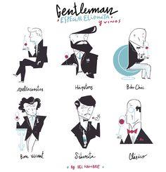 Editorial Illustration. Gentleman mag. Especial issue Dress suite WINES www.delhambre.com