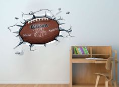 Football Ball On The Wall Decal NFL Superbowl Sticker For Boys Room Decor Part 83
