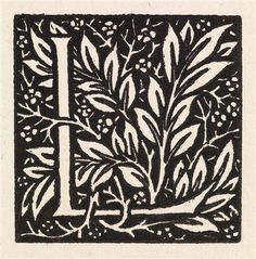 Love is Enough - Initial letter 'L' entwined with Laurel Leaves    By William Morris    1866 – 1867