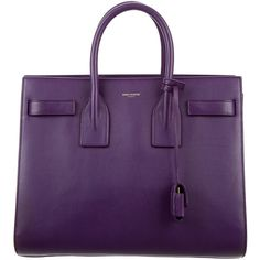 Pre-owned Saint Laurent Large Sac de Jour ($1,595) ❤ liked on Polyvore featuring bags, handbags, tote bags, purses, accessories, purple, zippered leather tote, hand bags, leather man bags and leather purses