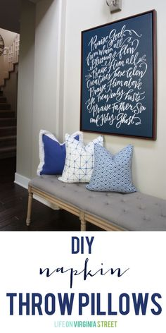 DIY Cloth Napkin Throw Pillow Tutorial - Life On Virginia Street